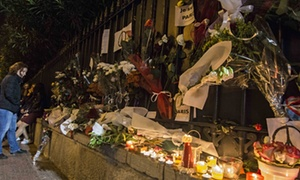 Athenians gather to leave flowers and candles outside the Embassy of France. A vigil was staged by the citizens of Athens to express their solidarity to the people of Paris after the recent terrorist attacks.