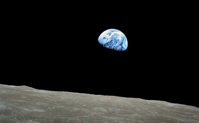 "The famous ""Earthrise"" image taken by the crew of Apollo 8 as they orbited the Moon. (credit: NASA)"