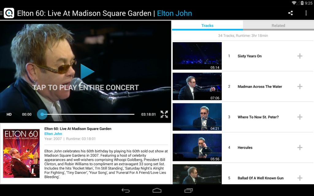 Not only can you enjoy thousands of concerts in HD you can even select specific tracks, within the concert.