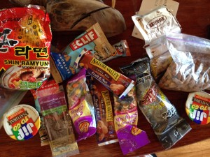 Our stash of snacks, come prepared :)