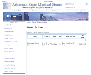 Veterans Affairs physician has his medical license suspended on an emergency basis!