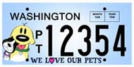 We Love Pets Washington State License Plate