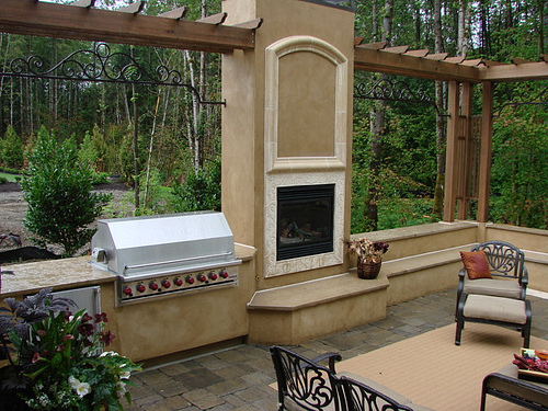 A beautiful outdoor kitchen.
