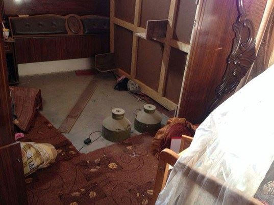 Explosives in a Gazan home placed next to a child's bed.