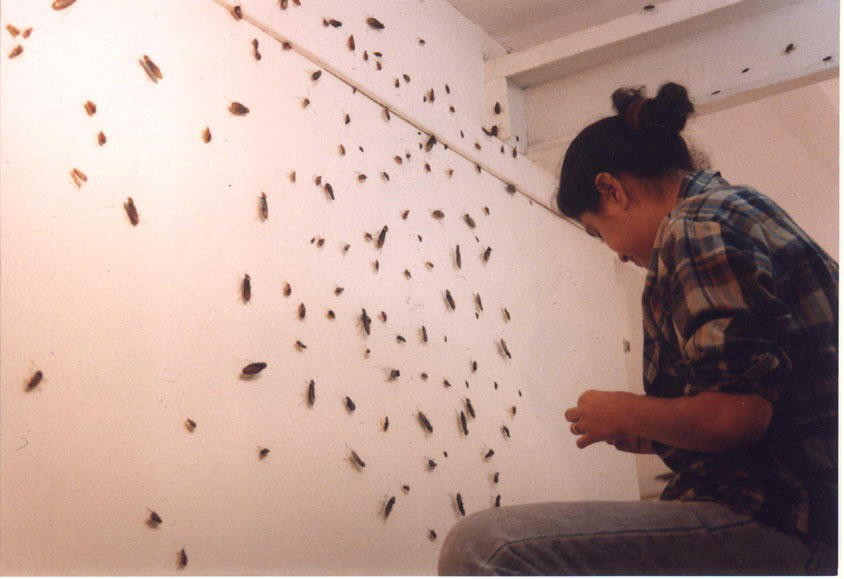 Hema Upadhyay and her work <i>The Nymph and the Adult</i> (2000) <br> Photo: via Wikipedia