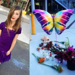 Madyson Middleton, an eight-year-old girl who was murdered at her home at the Tannery Arts Center, and the growing memorial set up in her honor. Photo: courtesy KSBW.
