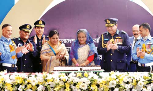 Prime minister Sheikh Hasina attends a programme at Dhaka Cantonment in the capital on Sunday.  — New Age photo