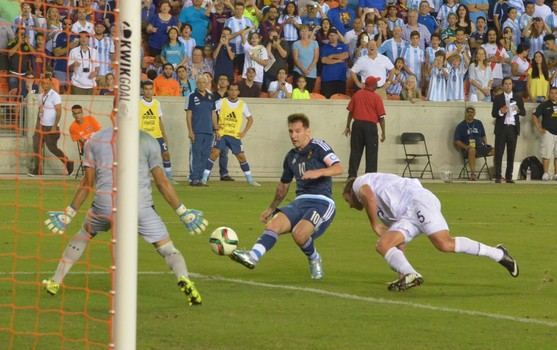 Messi shoots for a goal