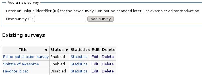Special:Surveys: the main administration interface for Surveys