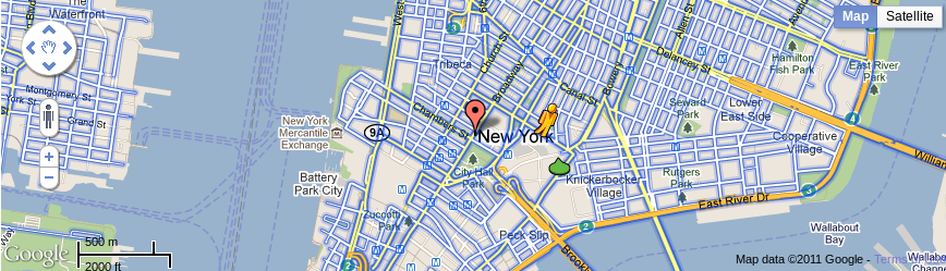 Google Maps v3 map showing a part of New York City