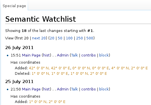 Semantic Watchlist page showing changes to watched properties