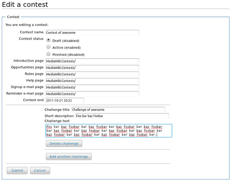 Contest editing interface