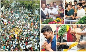 SEA OF HUMANITY: (From left) Thousands of people took part in the funeral procession of actor Manorama in Chennai on Sunday; actors Rajnikanth, Kovai Sarala, DMK president M. Karunanidhi and actor Vijay paying their respects at the actor's residence.