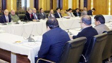 LAHORE: CM Punjab Shahbaz Sharif addressing the d briefing session about his visit to Britain. INP PHOTO