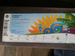 England v Uruguay World Cup Ticket Brazil 2014