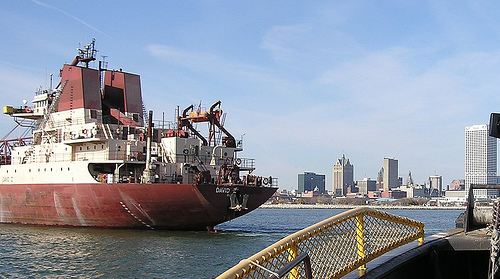 Ship in Milwaukee's near shore waters