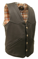 Men's Western Style American Bison Leather Vest