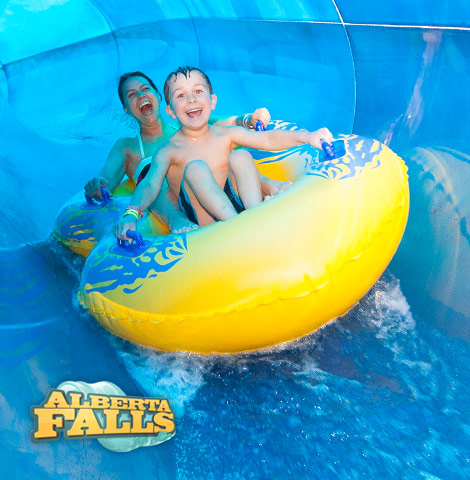 Catch a ride on Alberta Falls waterslide at Great Wolf Lodge Resorts.