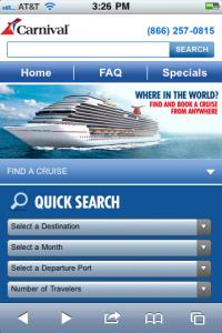 Carnival Cruise Lines Mobile Site