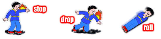 Three image sequence showing a boy stopping dropping and rolling