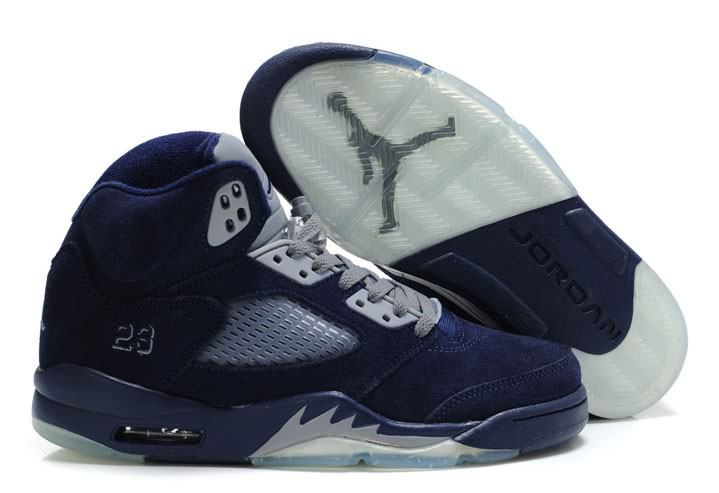 Womens Air Jordan 5 Suede Navy Blue Grey