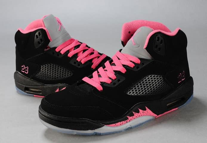Womens Air Jordan 5 Black Pink Silver