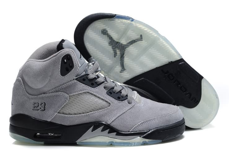Womens Air Jordan 5 Suede Grey Dark Navy Blue