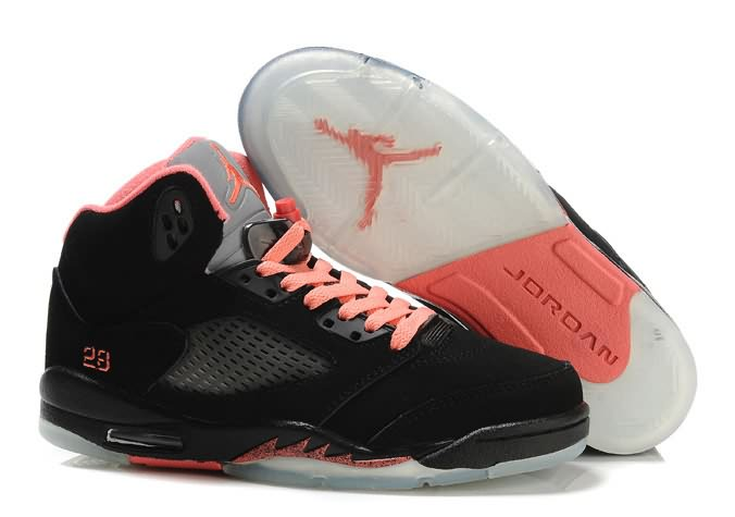 Womens Air Jordan 5 GS Black Pink Silver