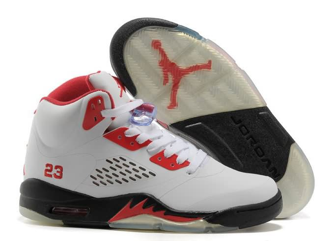 Womens Air Jordan 5 White Black Fire Red