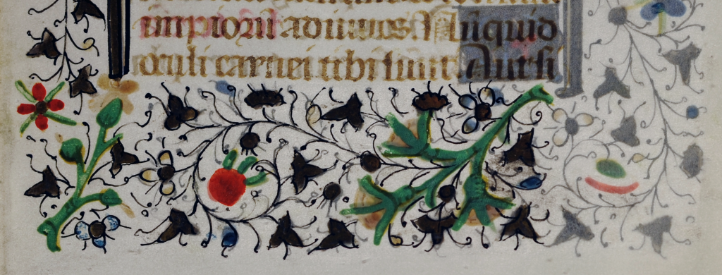 Floral border below the text of a Book of Hours on a detached leaf.  Photography Penwork extending from a decorated initial extends below the final line of text and ends in a horned animal head which looks into its direction.  Photography © Mildred Budny