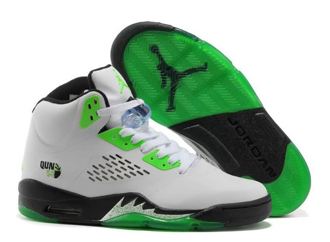 Womens Air Jordan 5 White Black Green