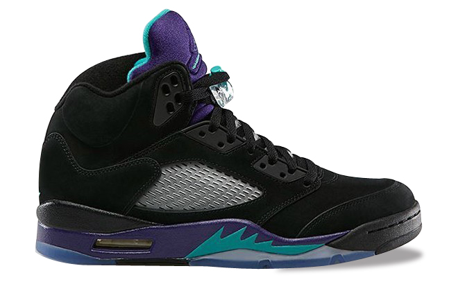 136027-007 Womens Air Jordan 5 Black/New Emerald-Grape Ice