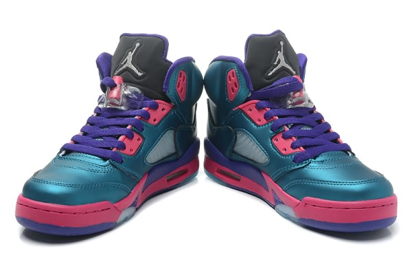 Air Jordan Retro GS 5 South Coast Women shoes Pink Purple Jade new hot