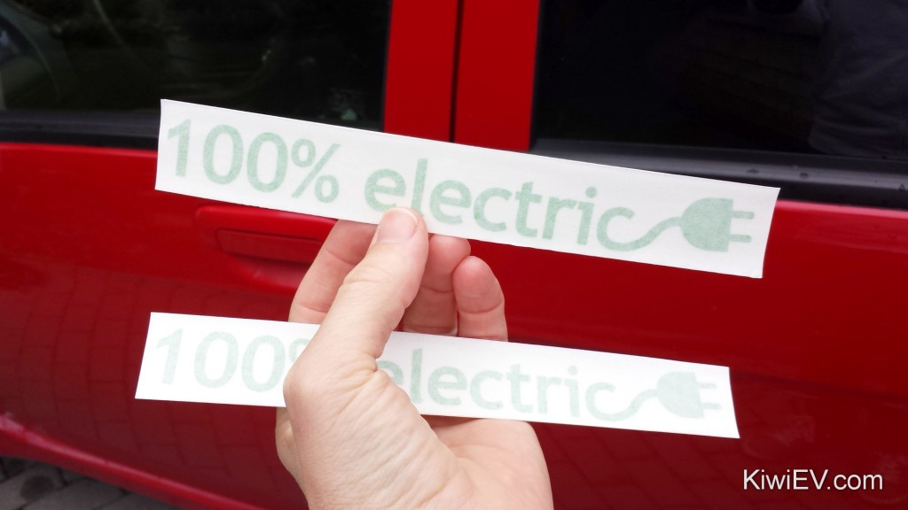 100 percent electric vehicle stickers