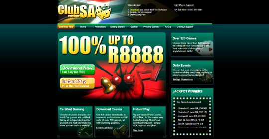 The homepage of Club SA Casino