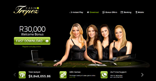 The homepage of Casino Tropez