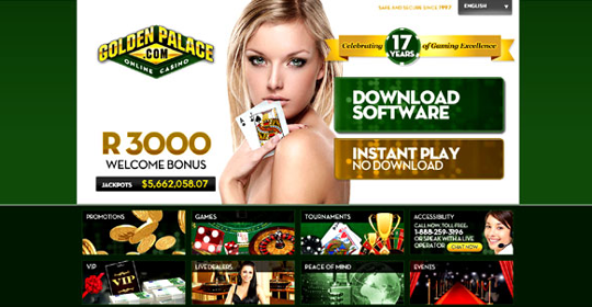 The homepage of Golden Palace Casino