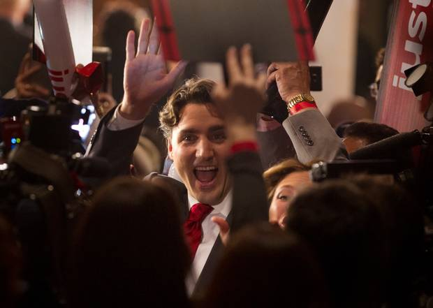 Justin Trudeau arrives inside the Liberal leadership campaign event hall on April 14, 2013.