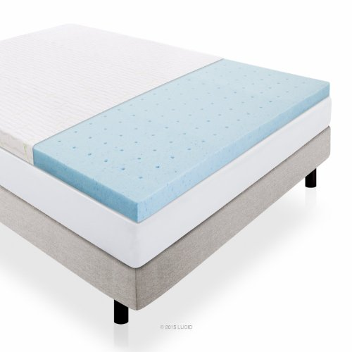 LUCID 2.5 Inch Gel Infused Ventilated Memory Foam Mattress Topper with Removable Bamboo Cover