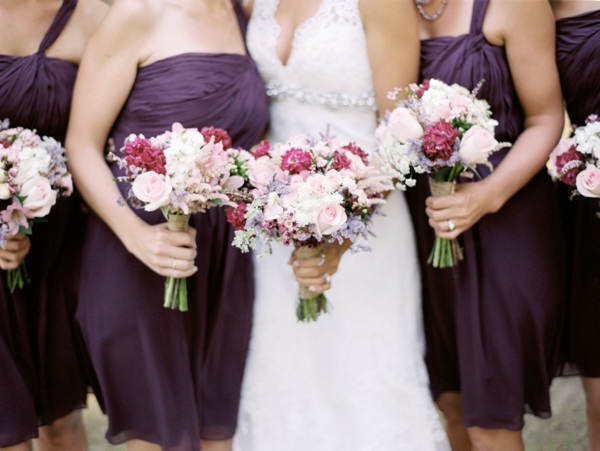 purple bridesmaids dresses, pink bridesmaids bouquets, Rustic Wisconsin Resort Wedding, Emily Steffen Photography