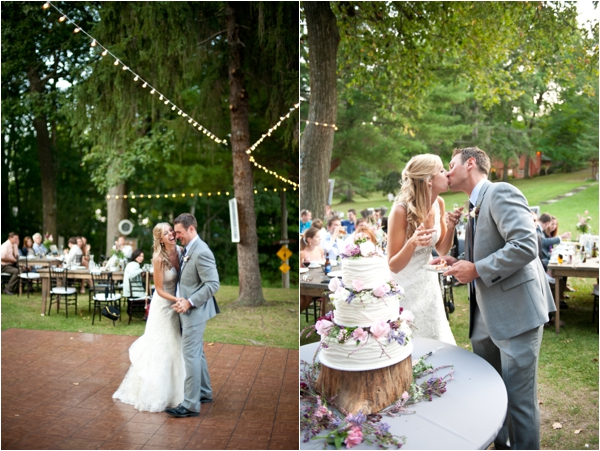 bride and groom, first dance, cutting the cake and kiss, Rustic Wisconsin Resort Wedding, Emily Steffen Photography