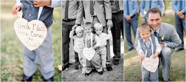 ring bearer with rustic wedding heart-shaped sign, here comes the bride sign, ring bearer with groom and groomsmen, Rustic Wisconsin Resort Wedding, Emily Steffen Photography