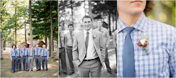 groom and groomsmen in blue checkered shirts and blue ties, Rustic Wisconsin Resort Wedding, Emily Steffen Photography