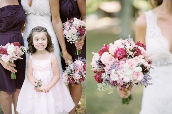 flower girl in pink dress, bridal bouquet with pink roses, purple bridesmaids dresses, Rustic Wisconsin Resort Wedding, Emily Steffen Photography