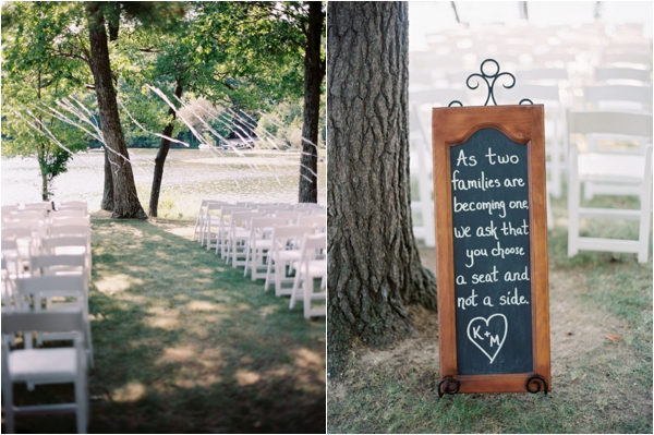 ribbon backdrop for wedding ceremony, rustic welcome sign for wedding guests, pick a seat not a side welcome sign, Rustic Wisconsin Resort Wedding, Emily Steffen Photography