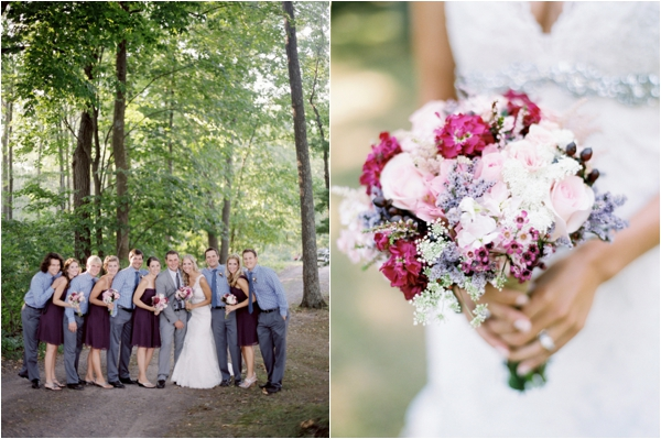 bridal party with bridesmaids in purple dresses and groomsmen in blue checkered shirts, pink roses bridal bouquet, Rustic Wisconsin Resort Wedding, Emily Steffen Photography