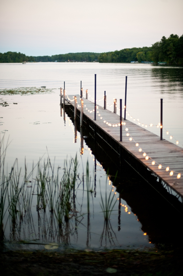 dockside lighting for rustic wedding, Rustic Wisconsin Resort Wedding, Emily Steffen Photography