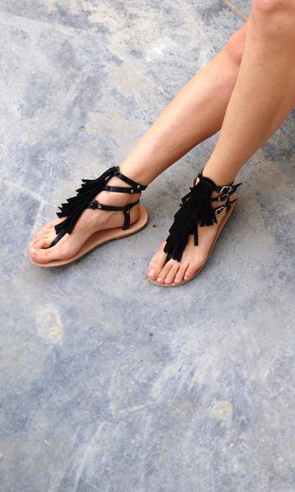 Image of Toufa tasseled sandals, Black suede