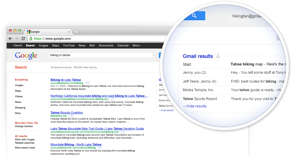 Gmail shows you search results from your own email account