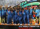 Sri Lankan players celebrate with the winners trophy after their win over India in the ICC Twenty20 Cricket World Cup final match in Dhaka on April 6, 2014. Fit-again captain Lasith Malinga and vice-captain Angelo Mathews returned to the Sri Lankan squad for the World T20 championship 2016 to be held in India from March 8.